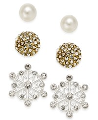 Charter Club Silver Tone 3 Pc. Snowflake Stud Earring Set Only At Macy's