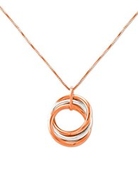 Lord And Taylor 14K White Rose Gold Circle Pendant 14 Kt. White And Rose Gold