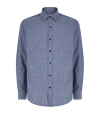 Hardy Amies Chambray Casual Shirt Male Blue