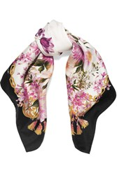 Dolce And Gabbana Floral Print Silk Twill Scarf Pink