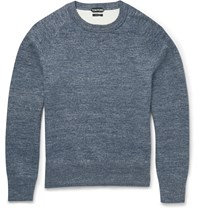 Tom Ford Slim Fit Double Faced Knitted Cotton Blend Sweatshirt Blue