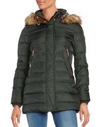 Vince Camuto Long Sleeve Hooded Puffer Jacket Hunter