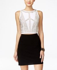 Jump Juniors' 2 Piece Embellished Bodycon Dress Silver White Black