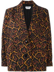 Yves Saint Laurent Vintage Animal Print Blazer Brown