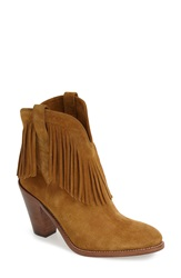 Saint Laurent 'New Western' Fringe Boot Women Tan Suede