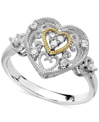 Macy's Diamond Antique Heart Ring In Sterling Silver And 14K Gold 1 10 Ct. T.W.