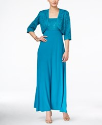 R And M Richards Sequined Lace Gown And Jacket Teal