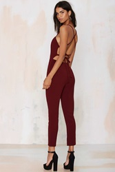 Nasty Gal Raquel Cross Back Jumpsuit Wine