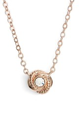 Women's Kate Spade New York 'Infinity And Beyond' Knot Necklace Clear Rose Gold