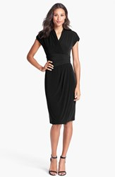 Women's Maggy London Jersey Faux Wrap Dress Black