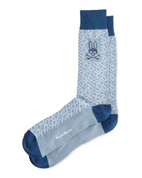 Geometric Print Socks Light Gray Lt Grey Psycho Bunny