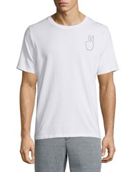 Rag And Bone Embroidered Peace Sign Short Sleeve Tee White