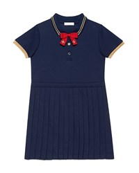 Gucci Pleated Cotton Pique Polo Dress Blue Size 6 12 Girl's Size 10