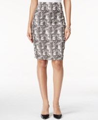 Kasper Printed Jacquard Pencil Skirt Ivory Black