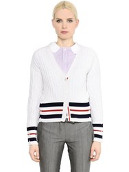 Thom Browne Striped Cashmere Cable Knit Cardigan