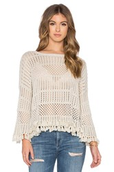 Autumn Cashmere Tassel Crew Neck Sweater Light Gray