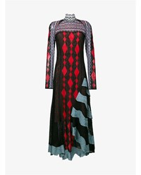 Peter Pilotto Lace Patchwork Knitted Dress Black Multi Coloured