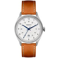 Tsovet Svt Rm40 White And Tan Leather Watch
