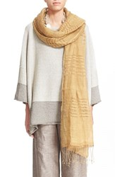 Women's Eskandar Two Tone Stripe Linen Scarf Metallic Gold