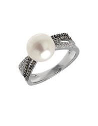 Lord And Taylor 9Mm White Freshwater Pearl Diamond Sterling Silver Ring