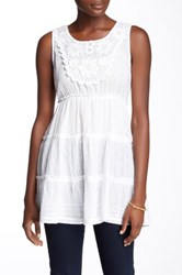 Chaudry Sleeveless Embroidered Tunic White