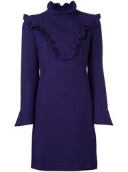 Fendi Ruffle Trim Dress Pink And Purple