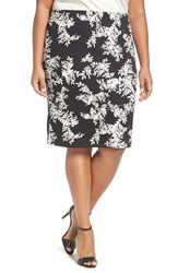 Vince Camuto Plus Size Women's 'Delicate Foliage' Print Scuba Knit Pencil Skirt