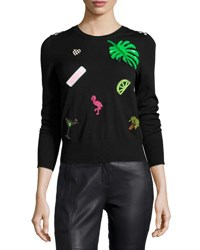 Marc Jacobs Paradise Patch 3 4 Sleeve Sweater Black