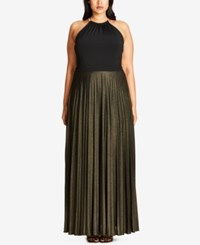 City Chic Trendy Plus Size Pleated Maxi Dress Gold