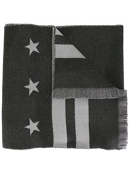 Givenchy Stars And Stripes Print Scarf Grey