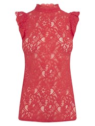 Oasis Ruffle Lace T Shirt Coral