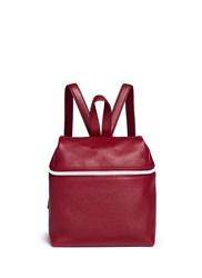 Kara Small Pebbled Leather Backpack Red