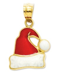 Macy's 14K Gold Charm Red And White Santa Hat Charm