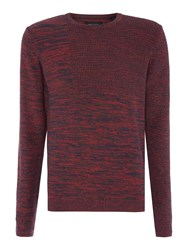 Only And Sons Marl Effect Crew Neck Jumper Dark Red