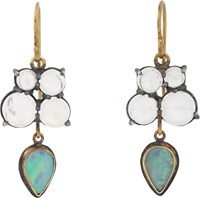 Judy Geib Opal Moonstone And Gold Drop Earrings Colorless