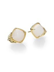 Ila Jalyn White Agate Diamond And 14K Yellow Gold Earrings Gold Agate