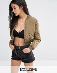 Missguided Exclusive Satin Cropped Bomber Jacket Khaki Green