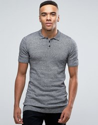 Asos Longline Knitted Polo In Muscle Fit Blk Wht Twist Grey