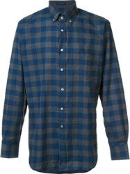 Paul And Shark Checked Pattern Shirt Blue