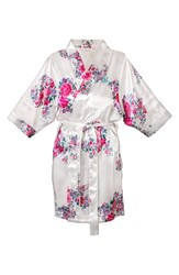 Women's Cathy's Concepts Floral Satin Robe White P