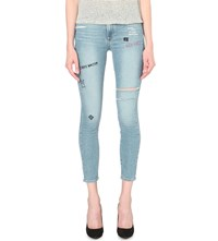 Paige Hoxton Embroidered Skinny High Rise Jeans Caprice Embroidery