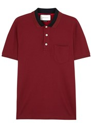 Gucci Burgundy Stretch Pique Cotton Polo Shirt Red