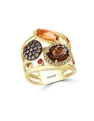 Effy Mosaic Diamond Semi Precious Multi Stone And 14K Yellow Gold Ring Brown