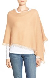 Women's In Cashmere Convertible Fringe Cashmere Poncho Brown Camel