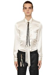 Roberto Cavalli Ruffled Trim Silk Satin Shirt