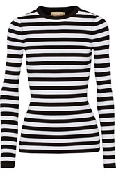 Michael Kors Striped Ribbed Stretch Knit Sweater White Black