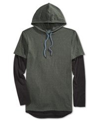 American Rag Men's Colorblocked Long Sleeve Hooded T Shirt Only At Macy's Forest Night