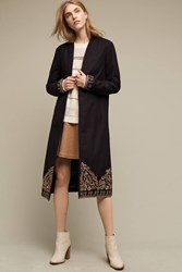 Anthropologie Florence Embroidered Wool Coat Black