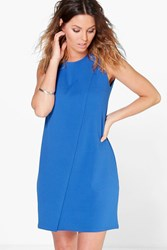Boohoo Sleeveless Wrap Over Shift Dress Cobalt