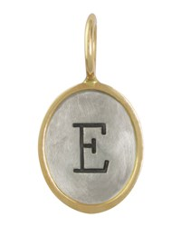 Oval Sterling Silver 14K Yellow Gold Single Uppercase Initial Charm Heather Moore